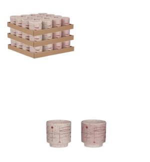 "Click pot round pink cream 2 assorted display - 4x4"""