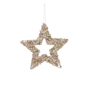 """Ornament star champagne - 8"""""""