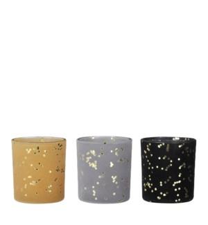 "Tealight holder grey black yellow 3 assorted - 2.75x3.25"""