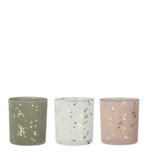 """Tealight holder white green l. pink 3 assorted - 2.75x3.25"""""""