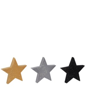 "Star yellow grey black 3 assorted - 8x1x7.5"""