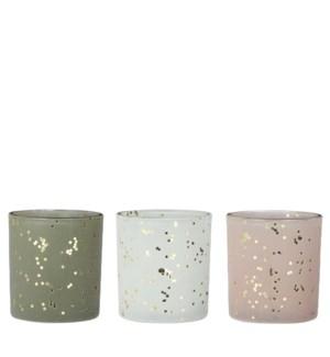 "Tealight holder dot white green l. pink 3 assorted - 3.25x3.25x3.5"""