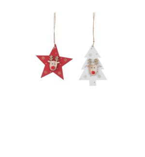 """Ornament deer white red 2 assorted - 3x4.25"""""""