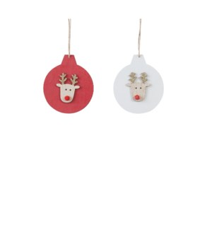 """Ornament deer white red 2 assorted - 3.75x4.25"""""""