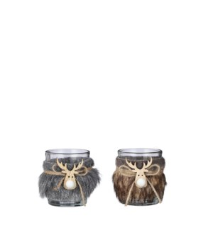 "Tealight holder deer head grey brown 2 assorted - 2.25x2.5"""