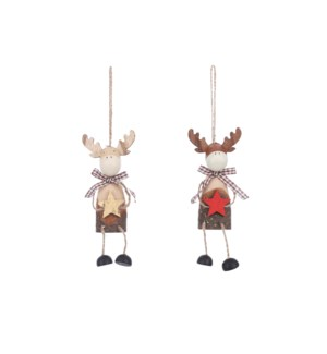 Ornament deer red gold 2 assorted - 2.25x1.5x4.25""