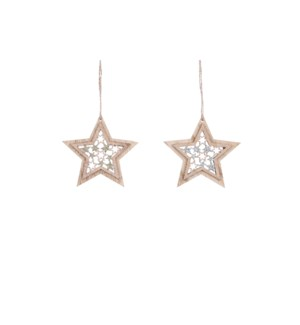 Ornament star brown gold 2 assorted - 3.5""