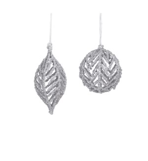 """Ornament silver 2 assorted - 4x6.75"""""""
