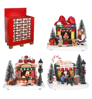 Santa's shops 3 assorted battery operated 80 pieces PDQ - 7.5x5.25x6.25""