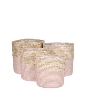 Rachel basket round pink set of 4 - 9.75x9.75""