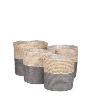 "Rachel basket round grey set of 4 - 9.75x9.75"""