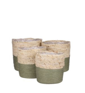 Rachel basket round green set of 4 - 9.75x9.75""