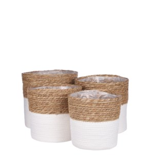 Rachel basket round off white set of 4 - 9.75x9.75""