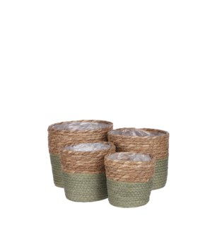 Rachel basket round green set of 4 - 7x7""