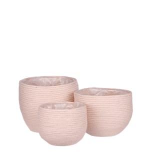 """Jorck basket round pink set of 3 - 10.25x9.5"""""""
