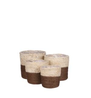 """Rachel basket round l. brown set of 4 - 7x7"""""""