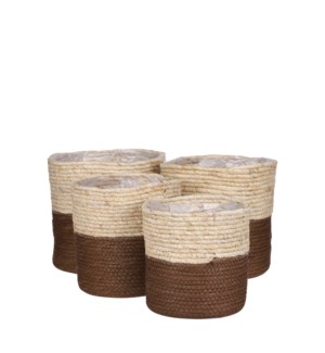 Rachel basket round l. brown set of 4 - 9.75x9.75""