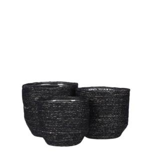 """Meleze basket black set of 3 - 7x7"""""""
