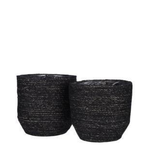 """Meleze basket black set of 2 - 8.75x8.75"""""""
