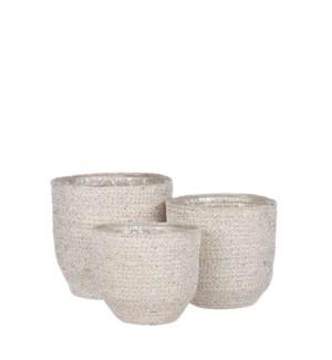 "Meleze basket white set of 3 - 7x7"""
