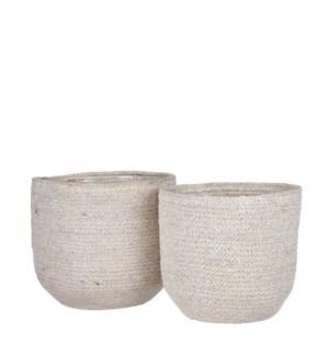 "Meleze basket white set of 2 - 8.75x8.75"""
