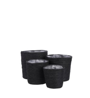 Rachel basket round black set of 4 - 7x7""