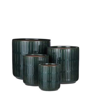 Lars pot round d. green set of 4 - 11.5x11.5""