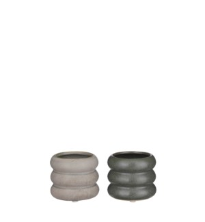 "Alex pot round grey green 2 assorted - 3.25x2.75"""