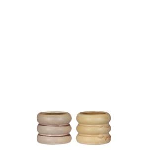 "Alex pot round pink yellow 2 assorted - 3.25x2.75"""