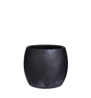 "Lester pot round black stone - 8x7"""