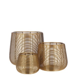 Hurricane light gold set of 3 - 9.5x8.25""