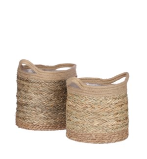 Anne basket l. brown set of 2 - 11.75x11""