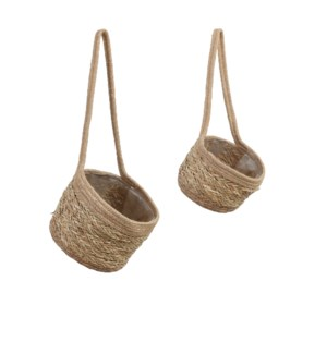 Anne hanging basket l. brown set of 2 - 9.75x8""