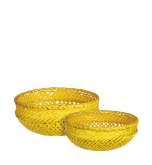 "Birthe basket round yellow set of 2 - 9.75x4"""