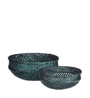 """Birthe basket round d. green set of 2 - 9.75x4"""""""