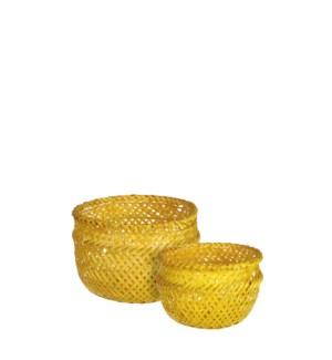 "Birthe basket round yellow set of 2 - 6x5"""