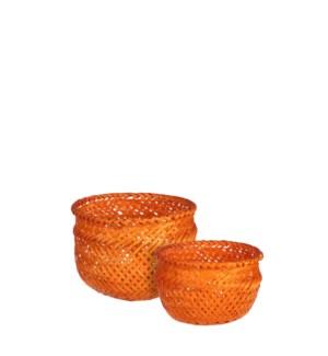 """Birthe basket round orange set of 2 - 6x5"""""""