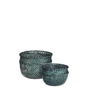 """Birthe basket round d. green set of 2 - 6x5"""""""