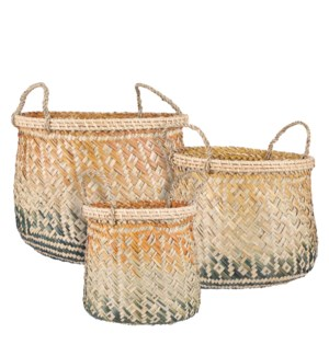 Basket round orange set of 3 - 15.75x11.75""