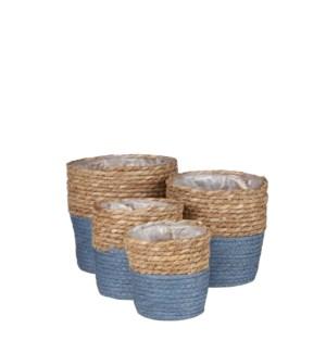 """Rachel basket round blue set of 4 - 7x7"""""""