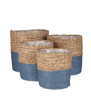 Rachel basket round blue set of 4 - 9.75x9.75""