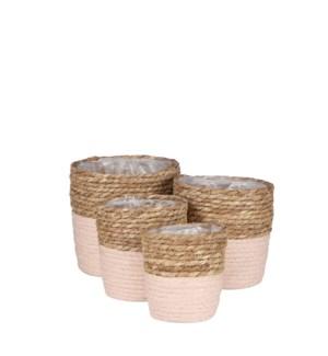 """Rachel basket round l. pink set of 4 - 7x7"""""""
