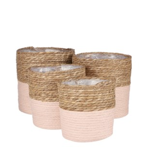 Rachel basket round l. pink set of 4 - 9.75x9.75""