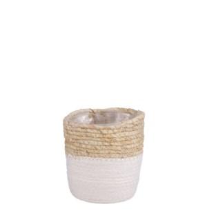 """Rachel basket round white - 5.5x5.5"""""""