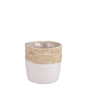 """Rachel basket round white - 6.25x6.25"""""""