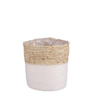 """Rachel basket round white - 7x7"""""""