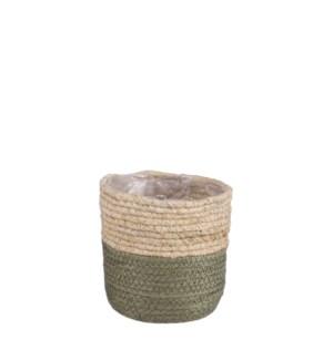 """Rachel basket round green - 5.5x5.5"""""""