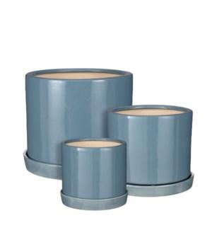 """Milan pot round with saucer d. blue set of 3 - 12.5x10.25"""""""