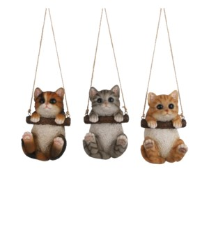 Ornament cat brown grey 3 assorted - 4x4x6""