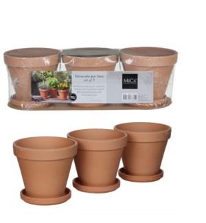 Stan pot w-saucer terra 3 pcs - l40,5xw13,5xh12cm